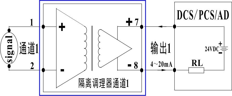 单通道模拟量两线制无源4-20ma隔离变送调理器接线图